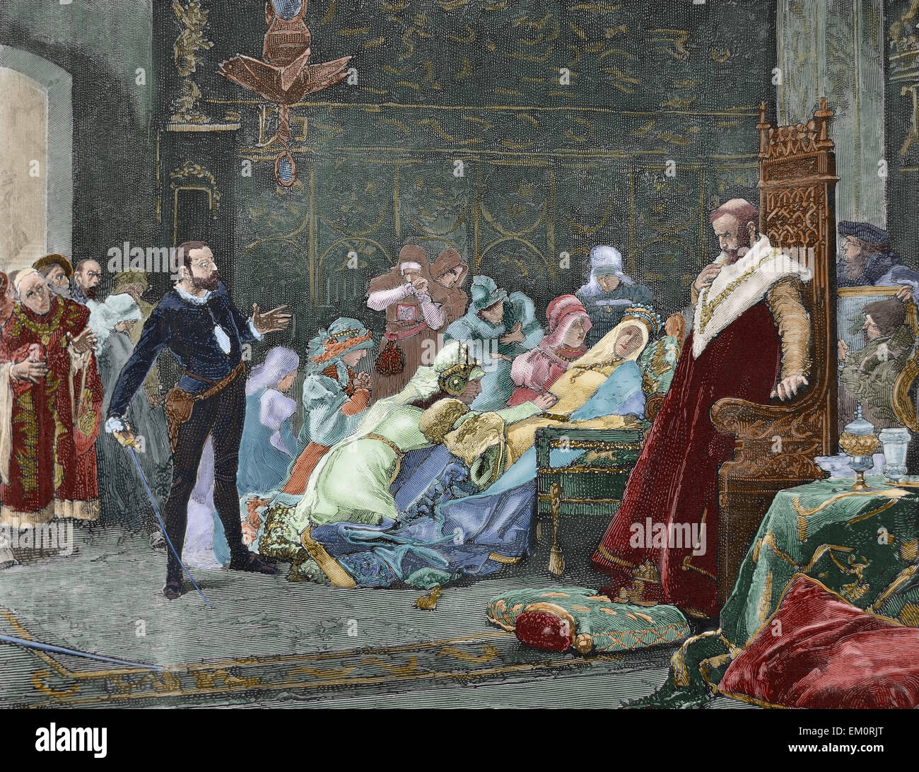 William Shakespeare (1564-1616). English writer. Hamlet. Queen Gertrude dies poisoned after drinking to the health - Stock Image