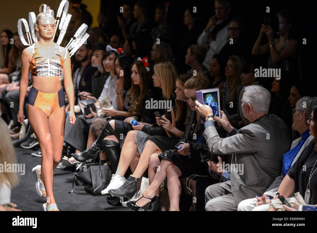 A Model Walks The Runway For The Bondi Bather Show At Mercedes Benz Stock Photo Alamy