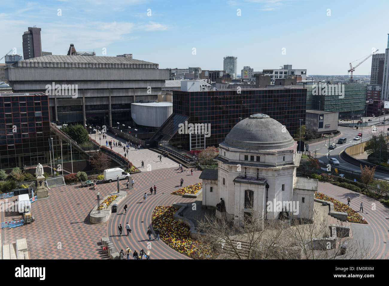 Birmingham, UK. 15th Apr, 2015. The old Birmingham Central Library which is in the process of being demolished can - Stock Image