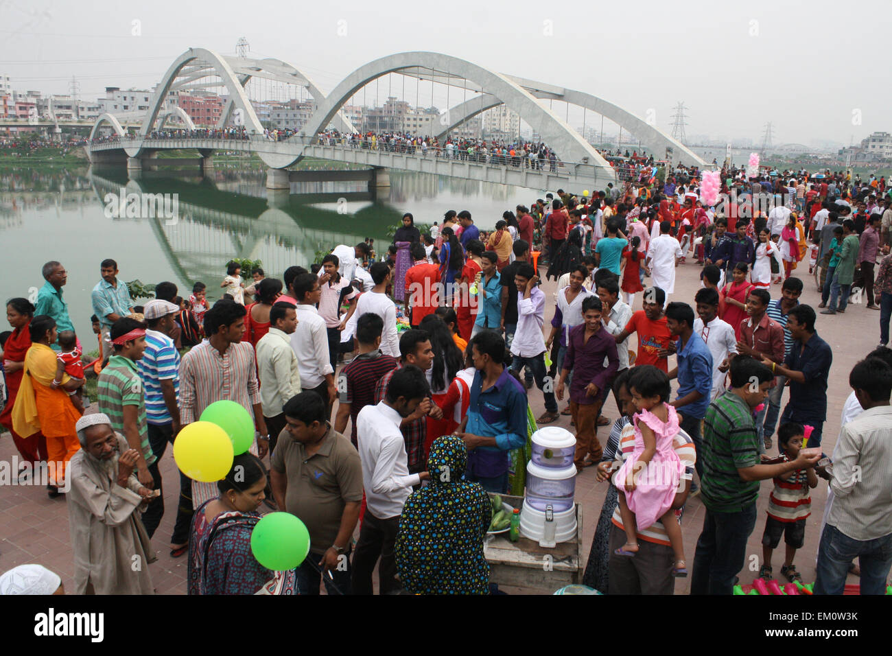 "Dhaka, Bangladesh. 14th April, 2015. Peoples gathered  at Hatirjil to  celebration of the Bengali New Year or ""Pohela - Stock Image"