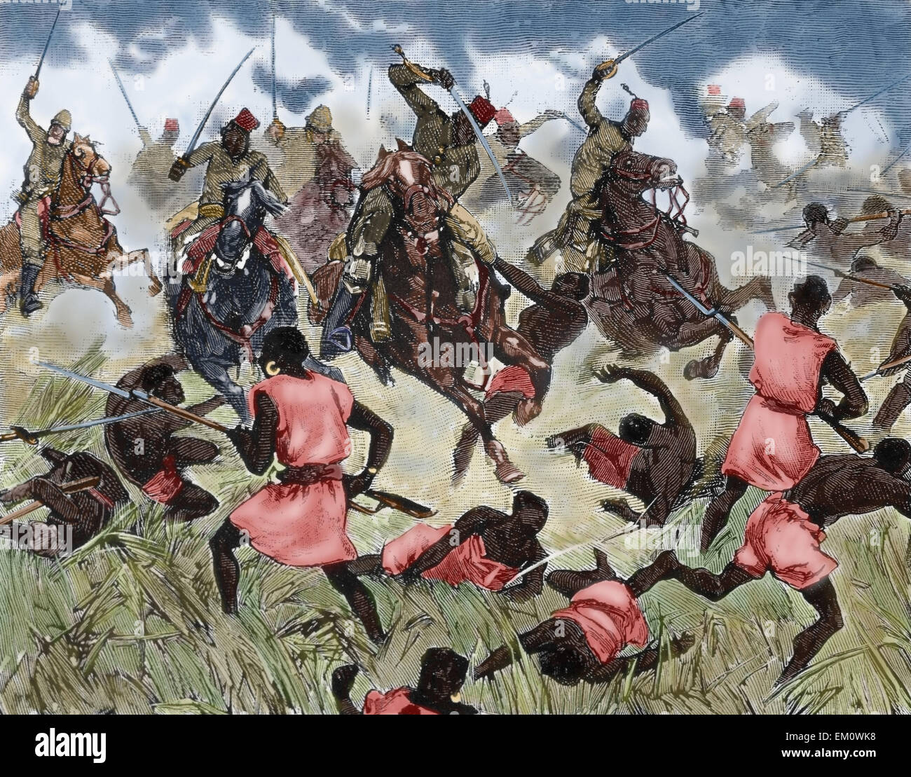 French colonialism. Upper Niger. Bambara attack the French mission to the town of Dio, 1881. Engraving in Les Grands - Stock Image