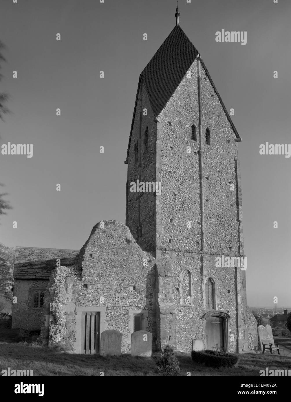 The C11th Saxon tower of St Mary's Church, Sompting, West Sussex: its 'Rhenish Helm' design with four - Stock Image