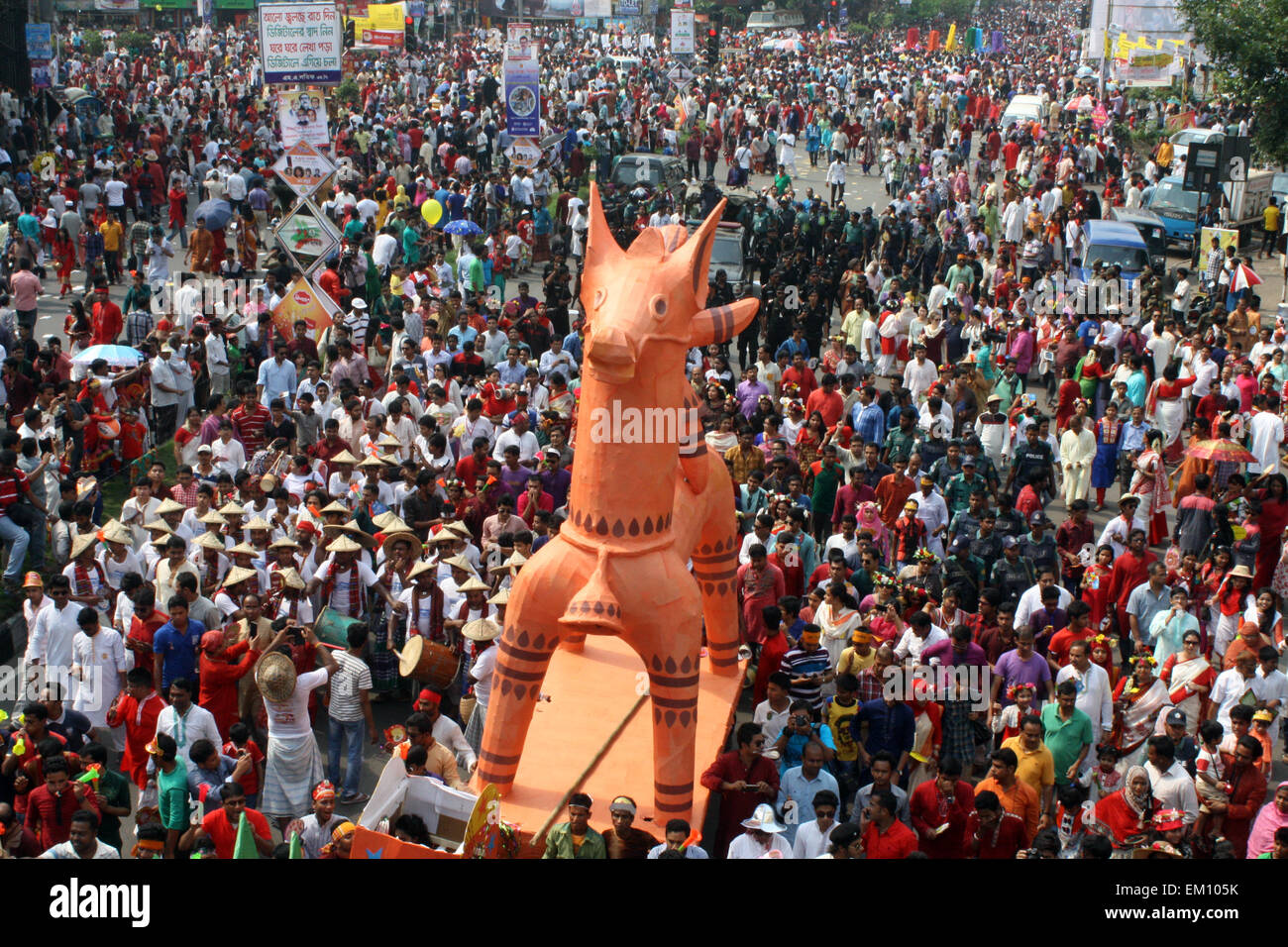 """Dhaka, Bangladesh. 14th April, 2015. Revellers attend a rally in celebration of the Bengali New Year or """"Pohela - Stock Image"""