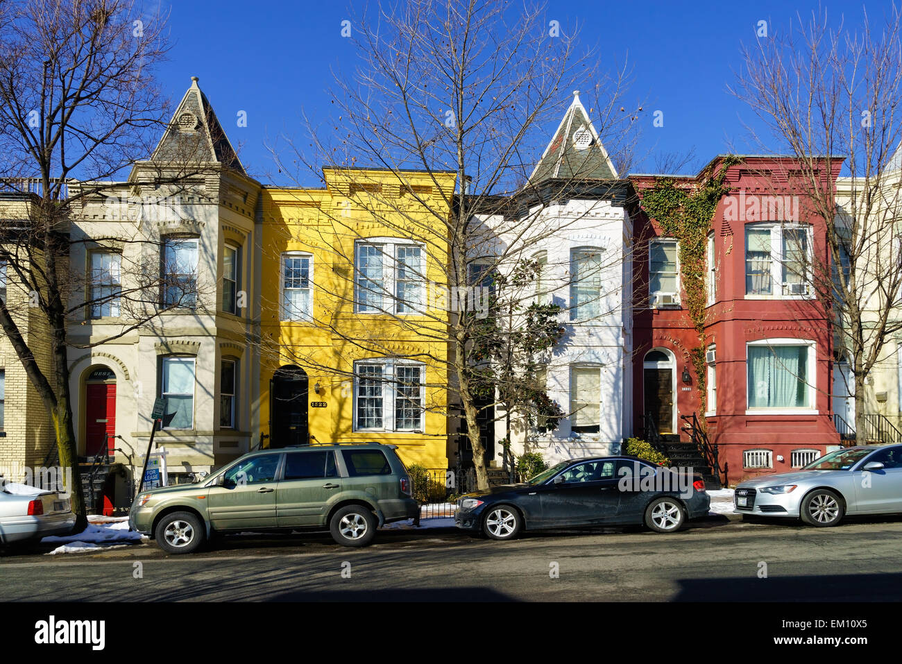Colorful old houses in the historic area of Georgetown, Washington DC, USA. - Stock Image