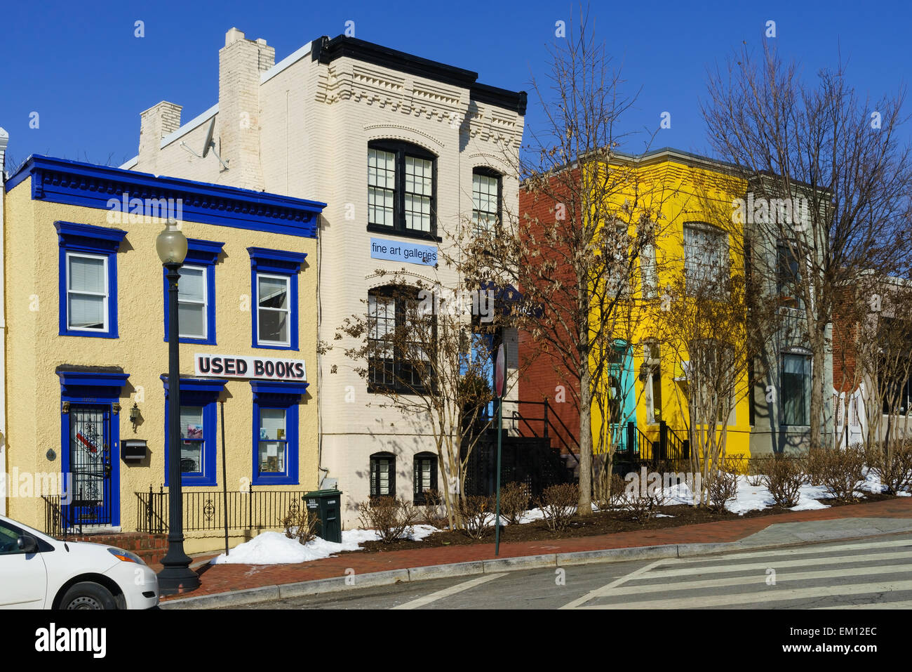 Colourful old houses in the historic area of Georgetown, Washington DC, USA. - Stock Image