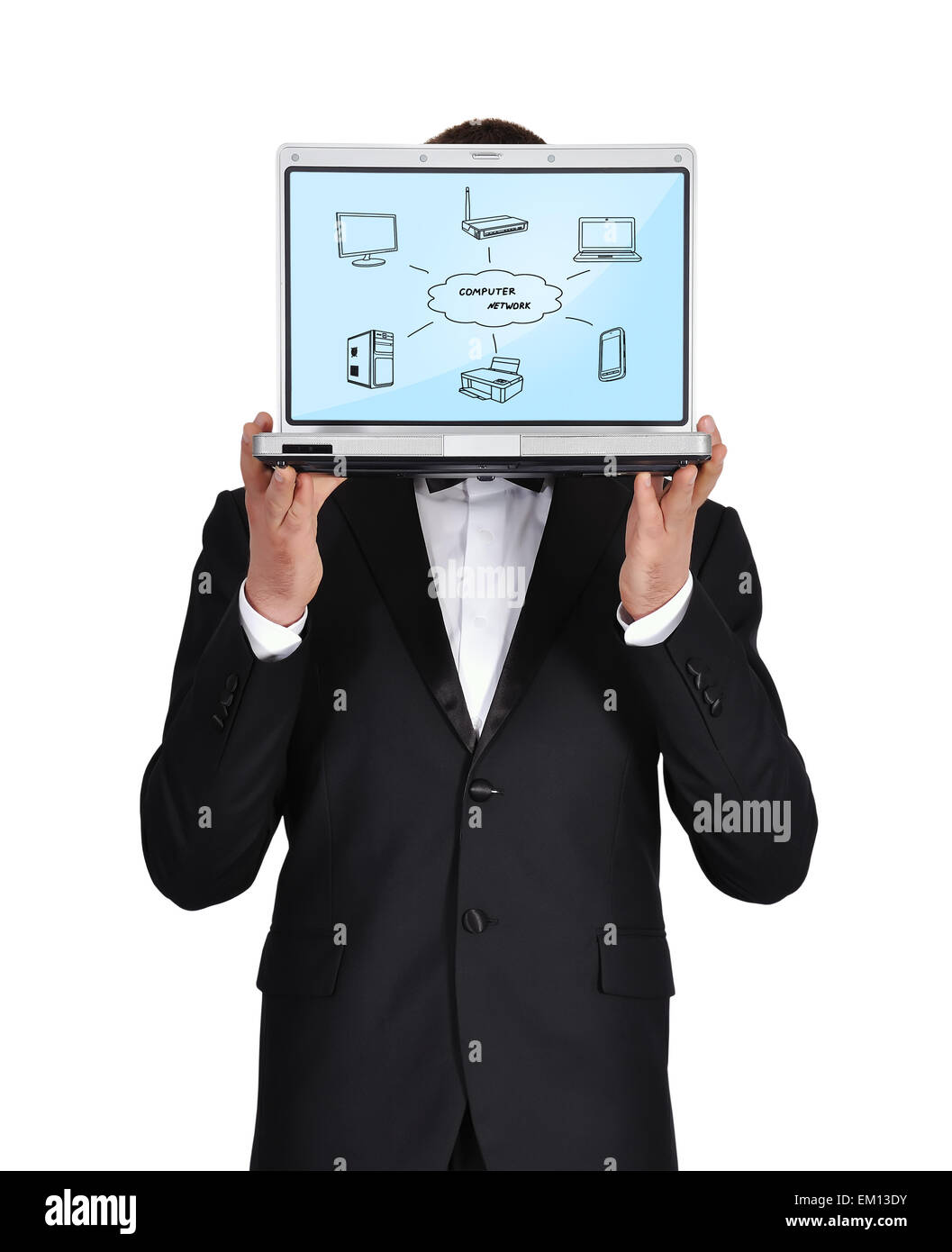 notebook with computer network Stock Photo