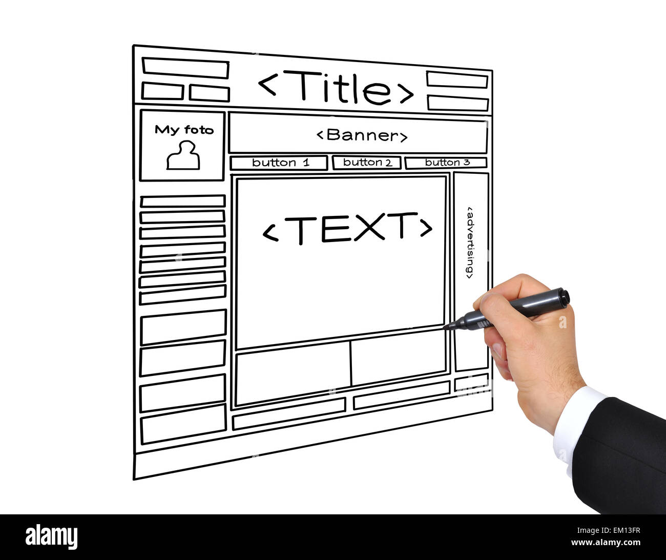 drawing web page - Stock Image