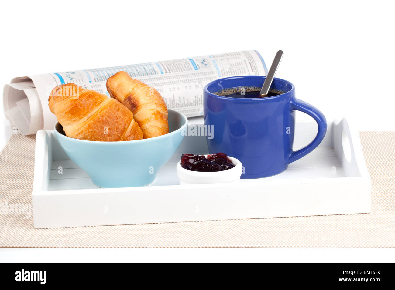 Fresh Coffee And Tasty Croissant In A Tray For Breakfast With N Stock Photo Alamy