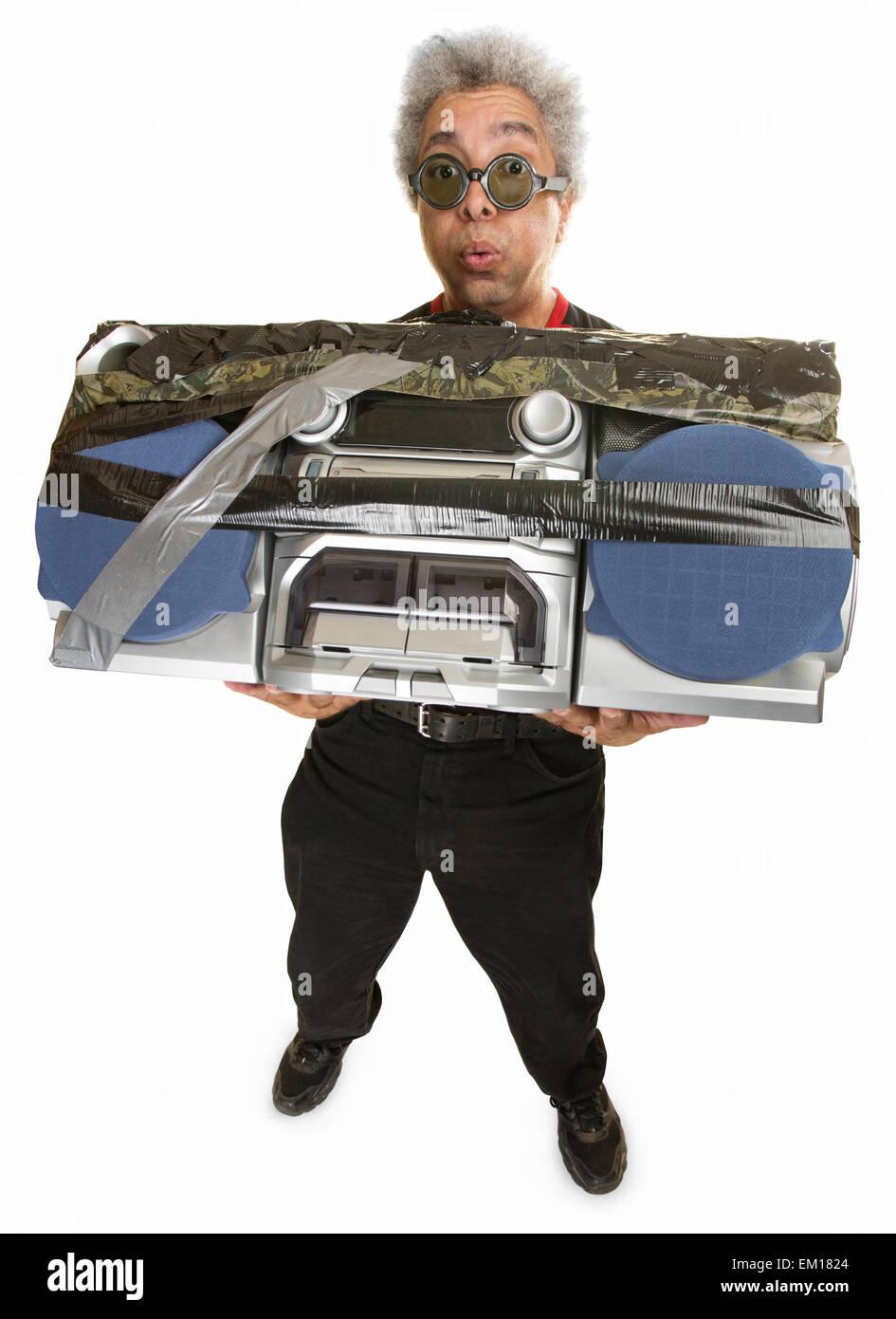 Overwhelmed Man with Radio - Stock Image