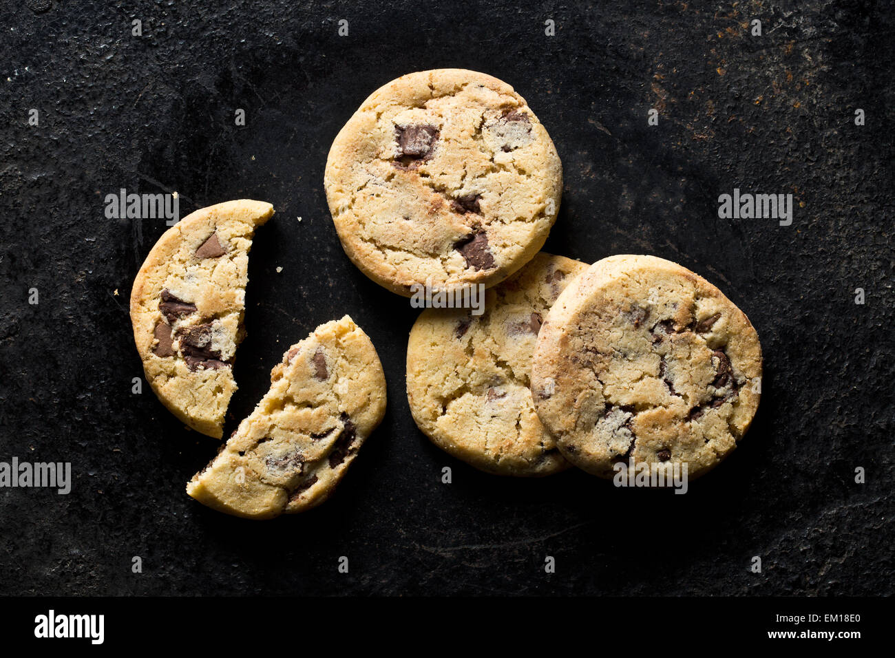 top view of chocolate cookies - Stock Image
