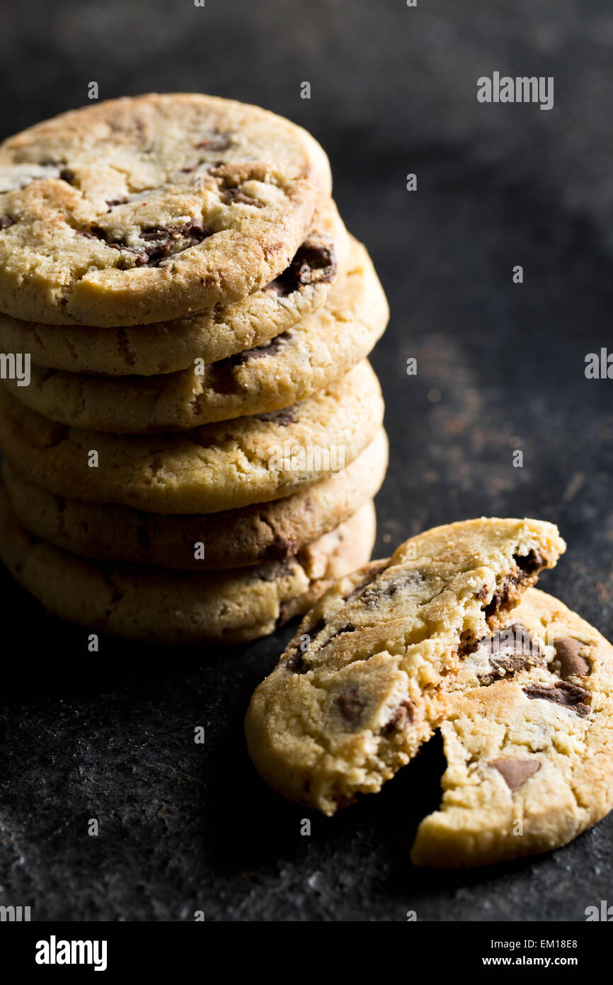 chocolate cookies on kitchen table - Stock Image
