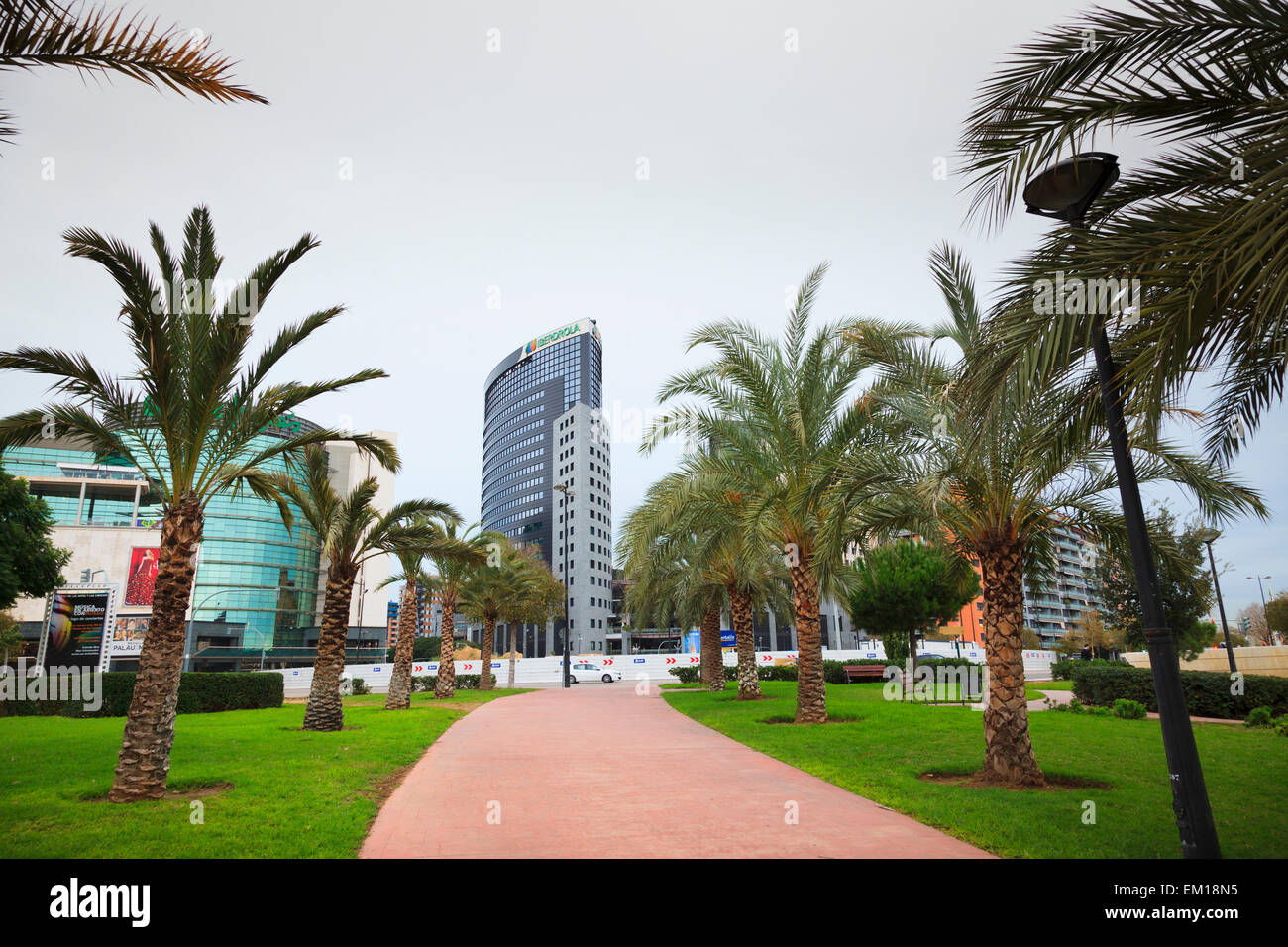 Palm tree lined path in the Garden of the Turia looking towards the Iberdrola building in Valencia Stock Photo