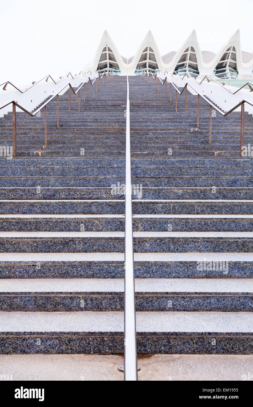 Graphic image of exterior steps with hand rails without people - Stock Image