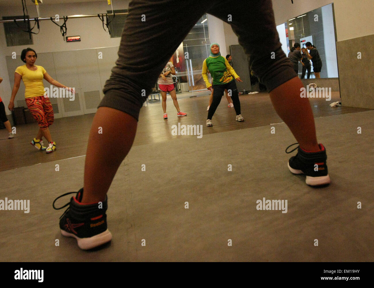April 15, 2015 - South Jakarta, Jakarta, Indonesia - Zumba is a dance fitness program created by Colombian dancer - Stock Image