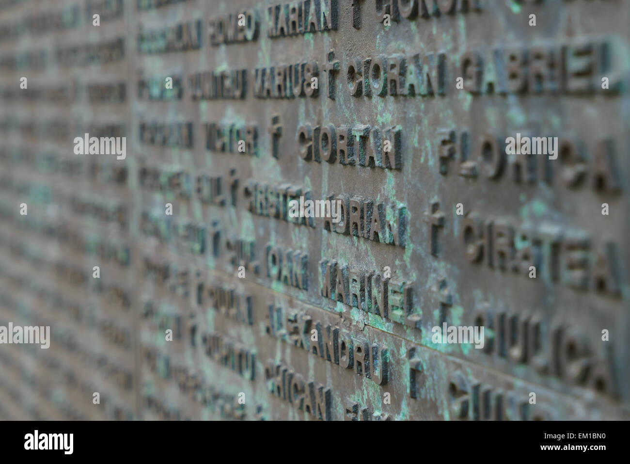 Details of the monument in Revolution Square with  names of people who died in the revolution in Bucharest, Romania. Stock Photo