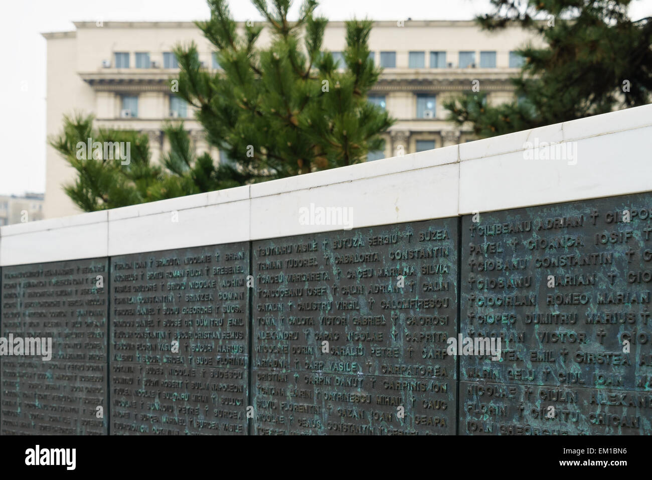 Monument in Revolution Square with the names of people who died in the revolution in Bucharest, Romania. Stock Photo