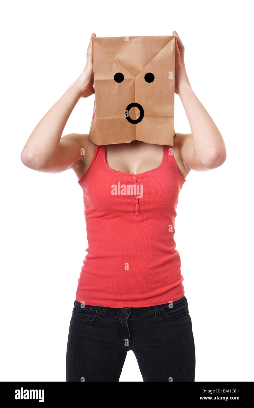 shocked paper bag girl - Stock Image