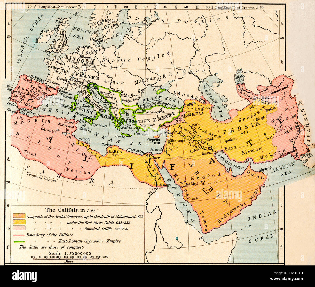 Map of the Muslim expansion and the Byzantine Empire at the end of the Umayyad Caliphate, in 750. Stock Photo
