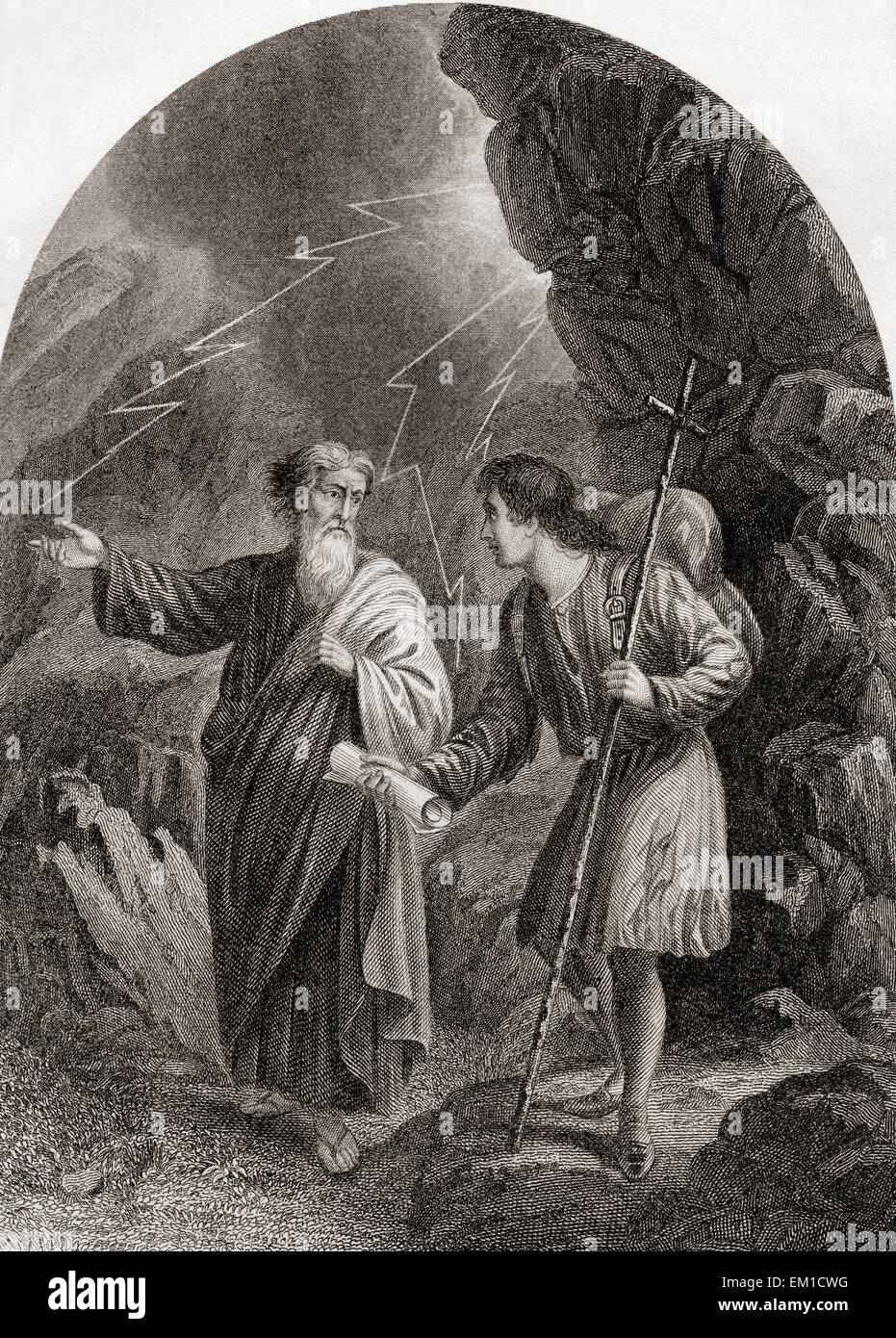 Christian and Evangelist.  From The Pilgrim's Progress by John Bunyan. - Stock Image