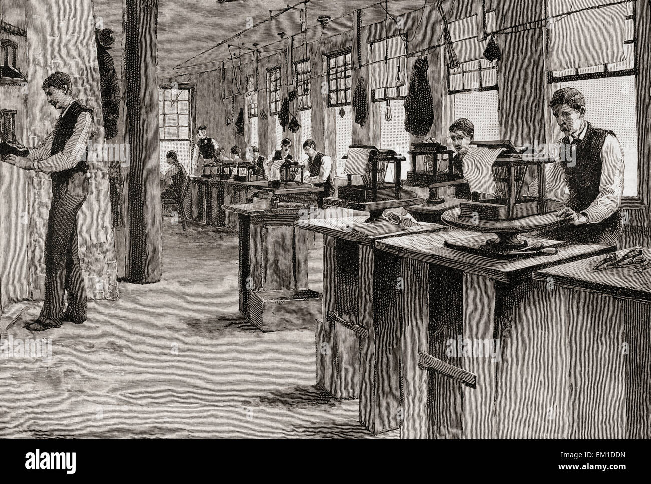 The alignment room in a 19th century printing works. - Stock Image