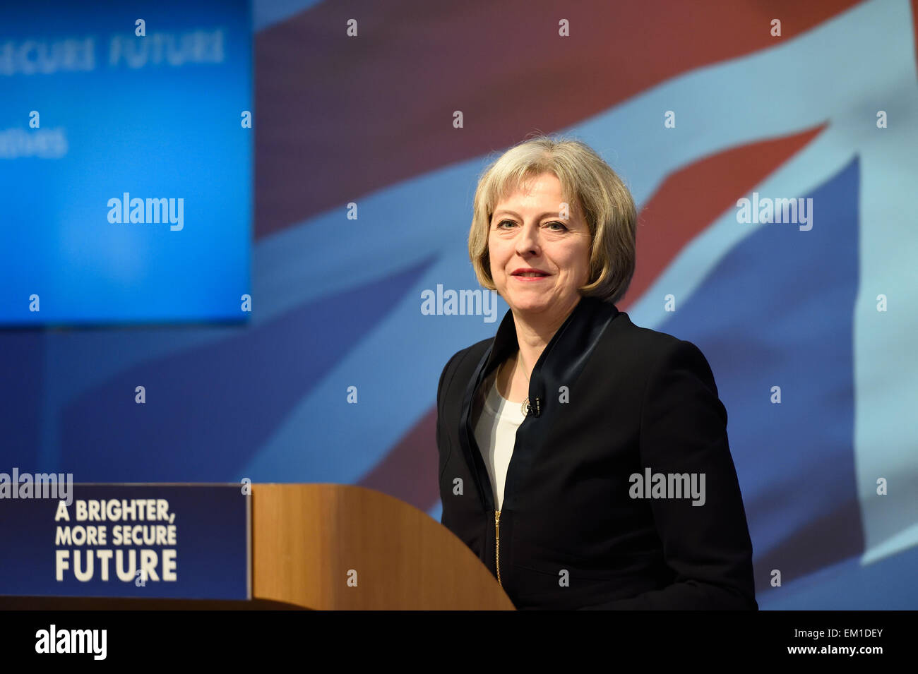 Theresa May Home Secretary and Conservative MP at the launch of the Conservative Party Manifesto 2015 - Stock Image