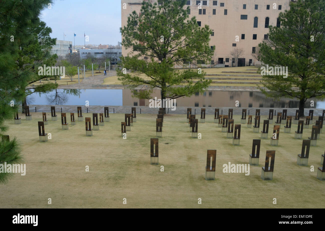 Oklahoma City, USA. 2nd Apr, 2015. 168 symbolic empty chairs stand on the memorial site for the Oklahoma City bombing Stock Photo