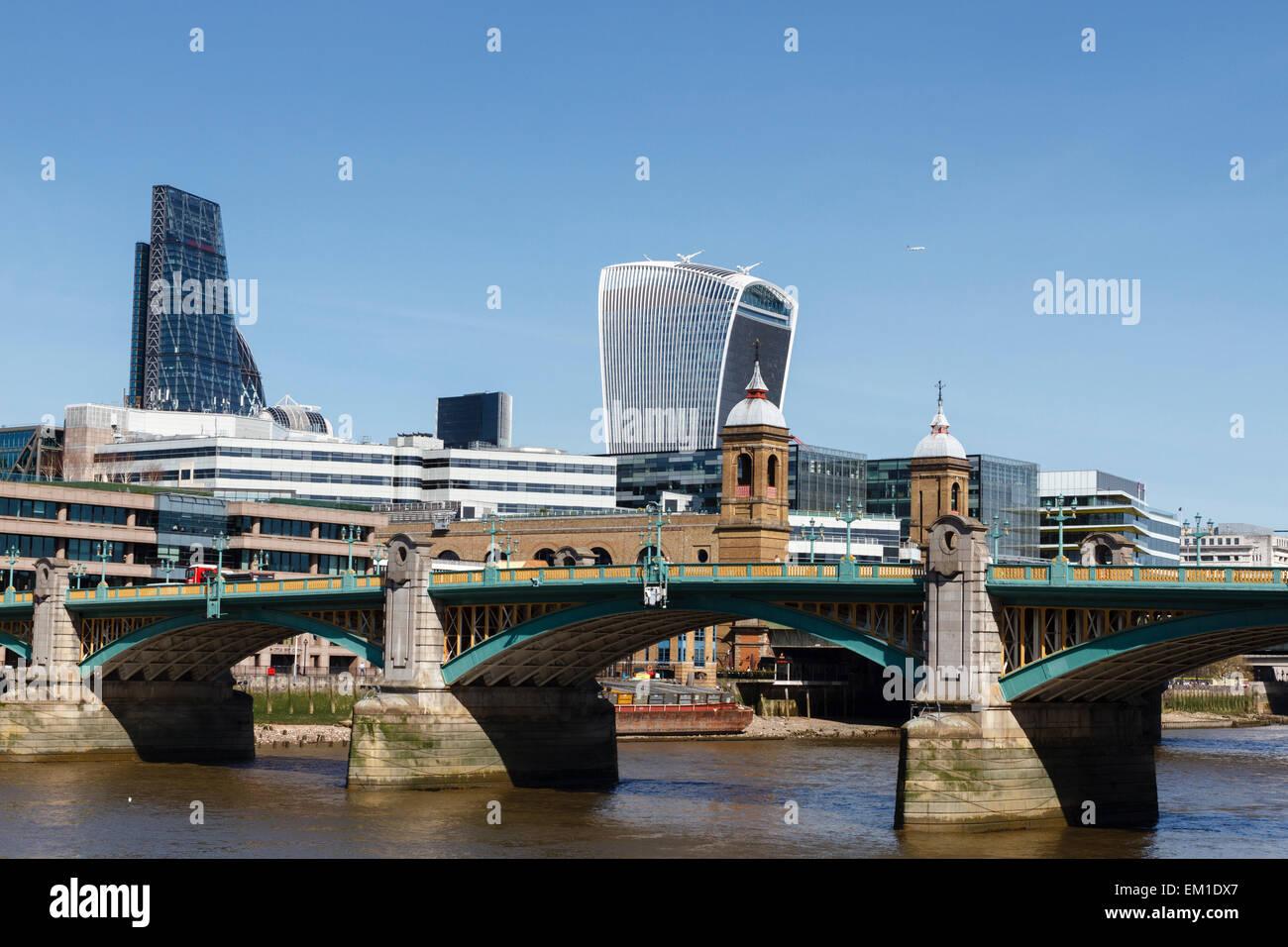 Southwark Bridge, London with 20 Fenchurch Street in the background, England, UK - Stock Image