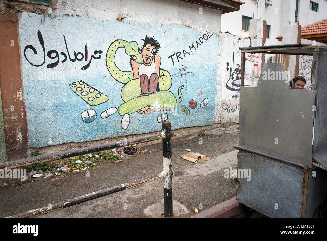 Street graffiti warning against abuse and use of the drug Tramadol in the Gaza Strip, occupied Palestinian territories. - Stock Image