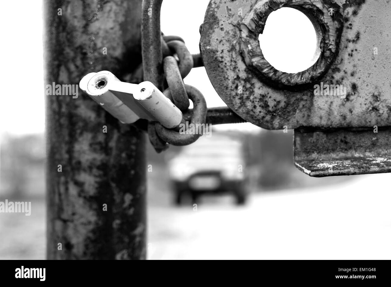 Lock on a barrier - Stock Image