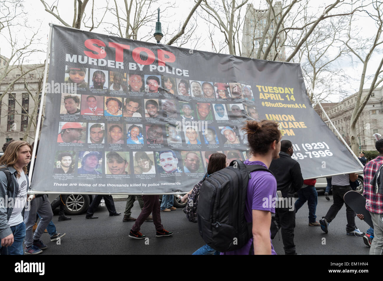 New York, NY - April 14, 2015: Protesters against police brutality walk down around Foley Square - Stock Image