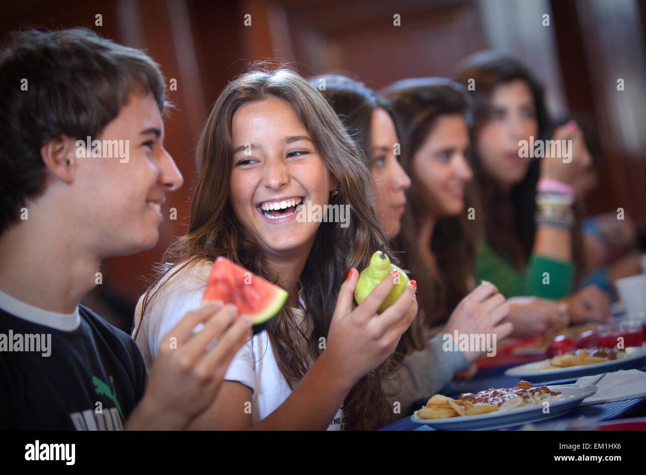 Berlitz Manchester language students happy - Stock Image