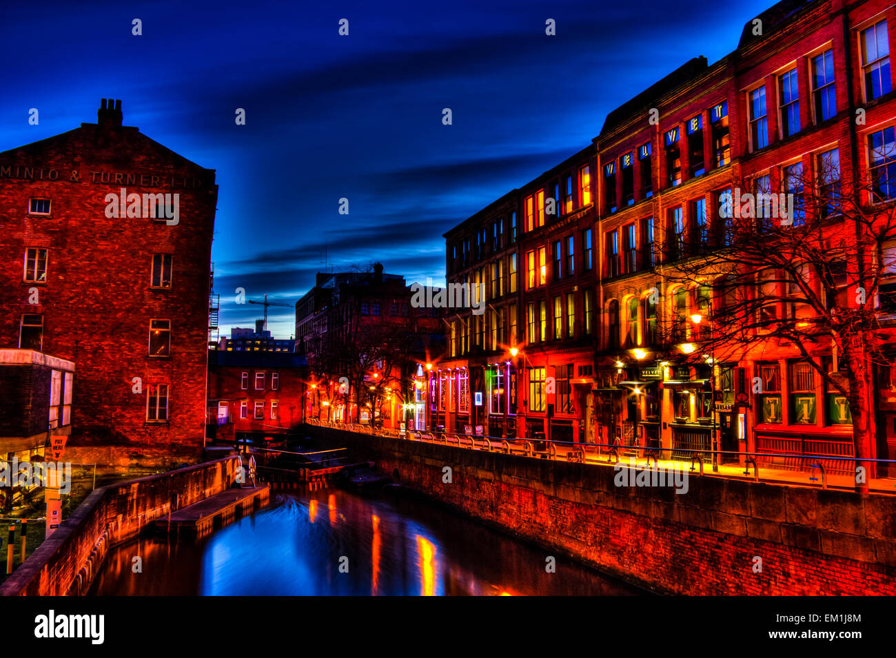 Manchester Gay Village during blue hour. HDR. - Stock Image