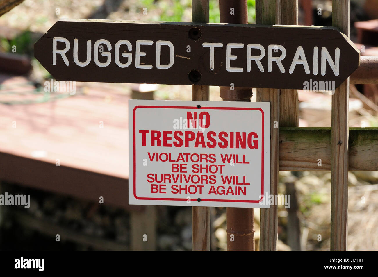 Rugged Terrain sign with warning. - Stock Image