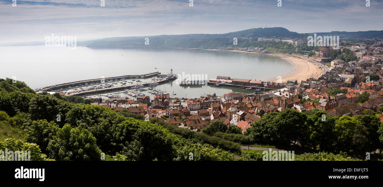UK, England, Yorkshire, Scarborough, rooftops of old town and South Bay from the Castle, panoramic - Stock Image