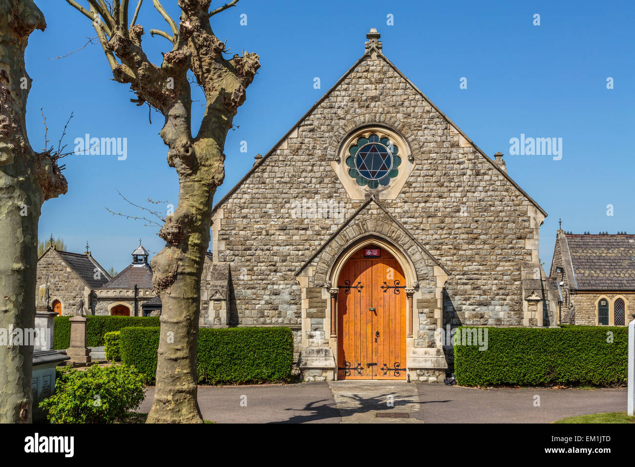 Willesden Jewish Cemetery Prayer Hall, London, England UK - Stock Image