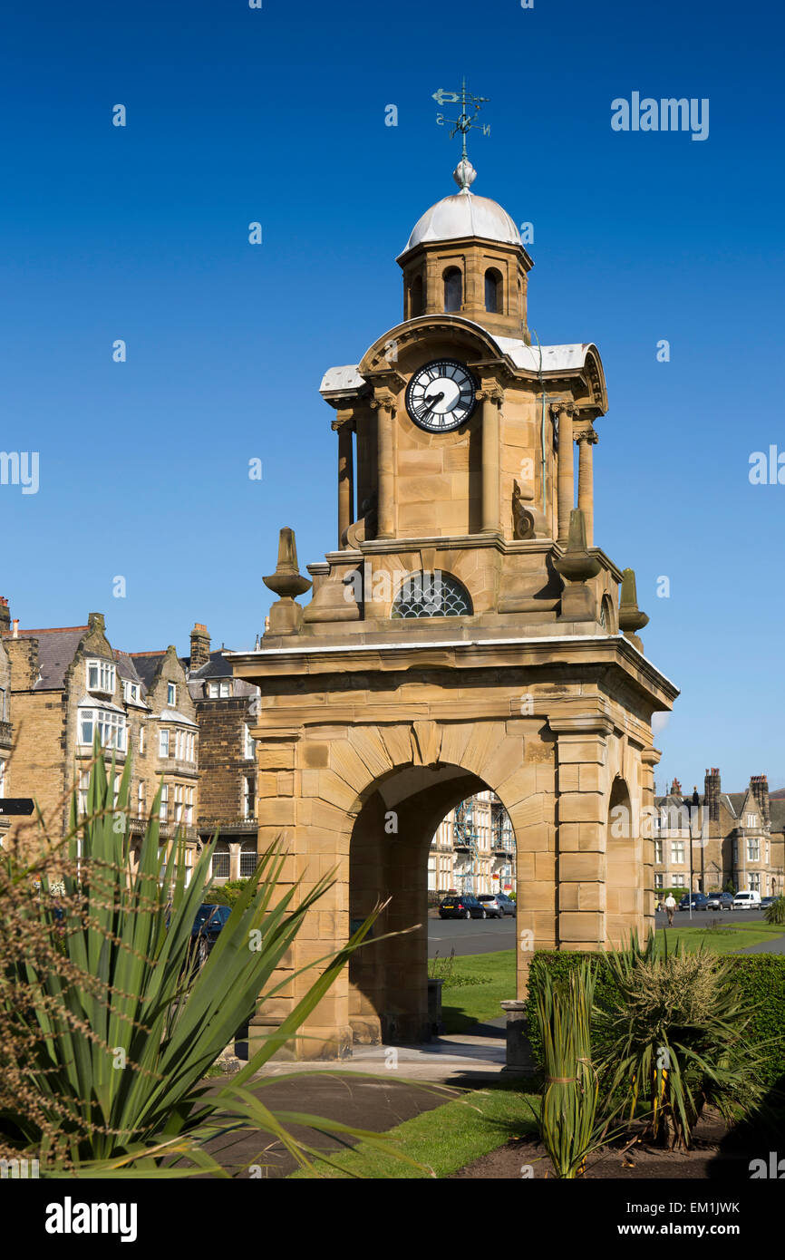 UK, England, Yorkshire, Scarborough, South Cliff, Holbeck Gardens Clock Tower - Stock Image