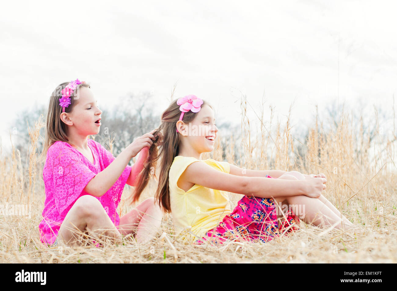 Girl braiding sister's hair in meadow - Stock Image