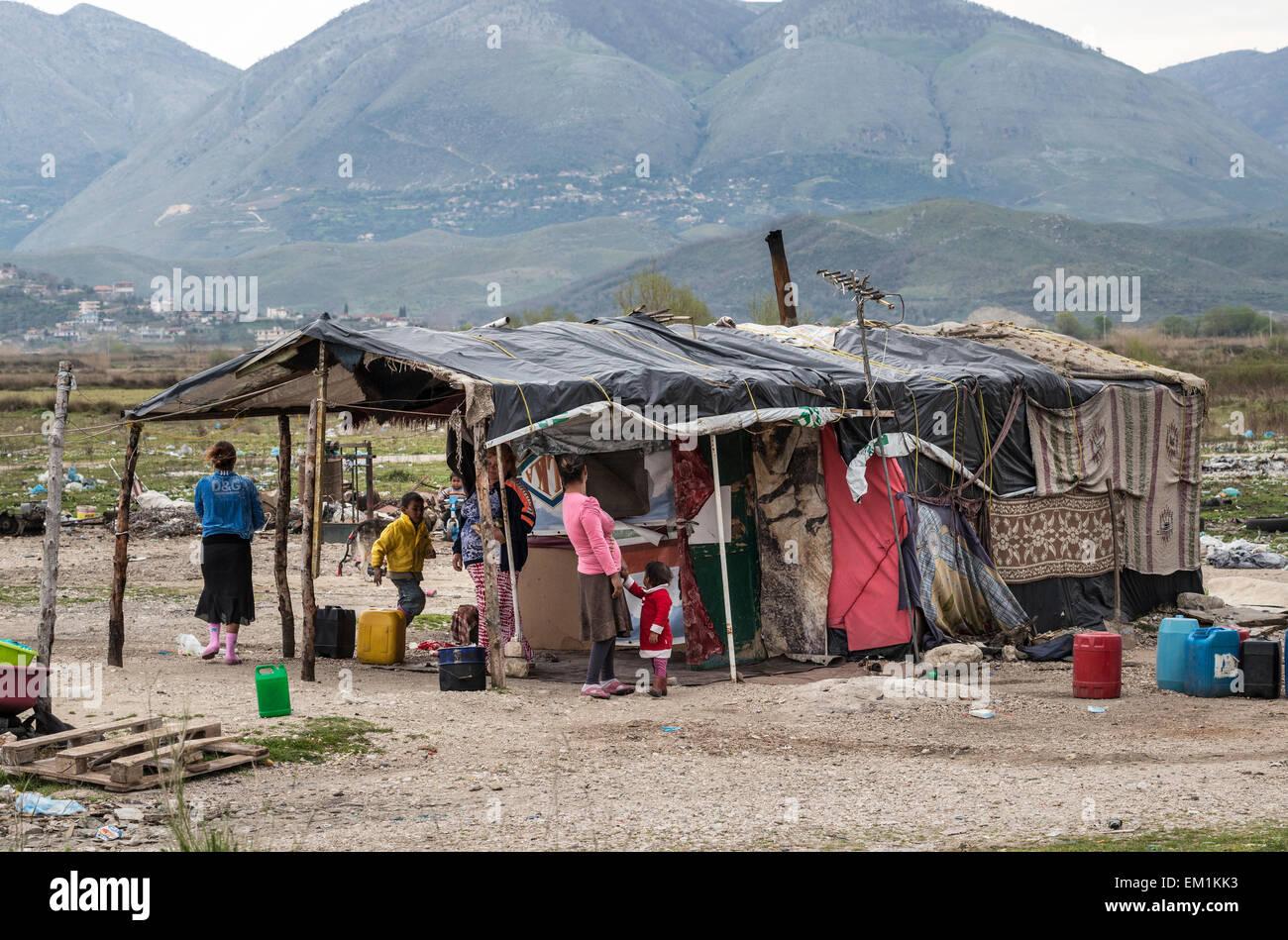 Roma Gypsy encampment near Saranda in Southern Albania. - Stock Image