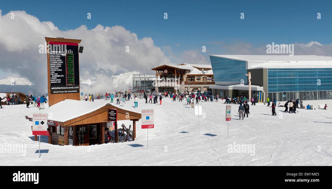Skiers At A Ski Resort; Whistler British Columbia Canada - Stock Image