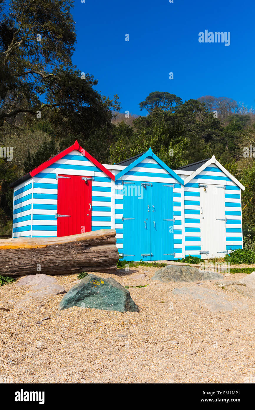 Colourful beach huts at Blackpool Sands in the South Hams. Devon England UK Europe. - Stock Image