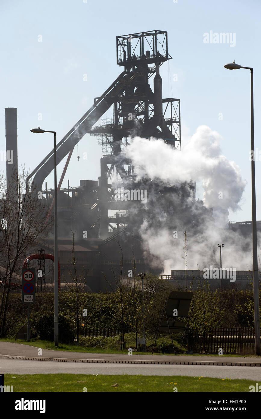 Steelworks blast furnace Port Talbot South Wales UK - Stock Image