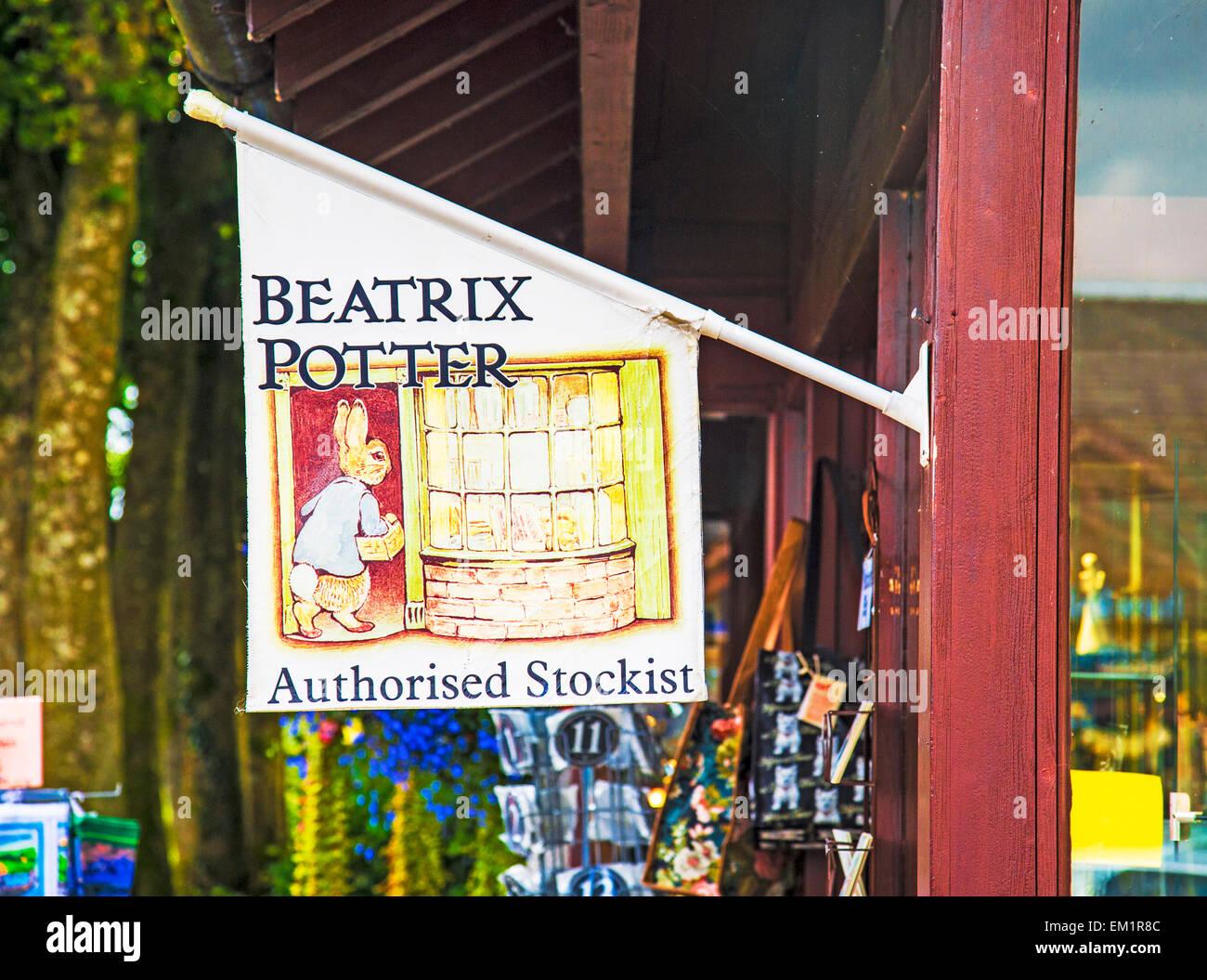 Hawkshead, village of Beatrix Potter and her creations; advertising; Werbung für Produkte von Beatrix Potter in Hawkshead Stock Photo
