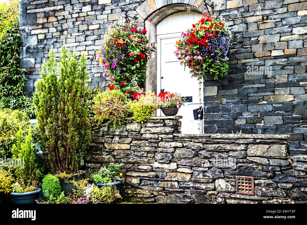 House in Hawkshead, Cumbria, Beatrix Potter Country - Stock Image