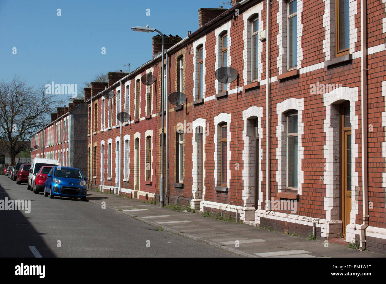 Row of terraced houses in Port Talbot South Wales UK - Stock Image