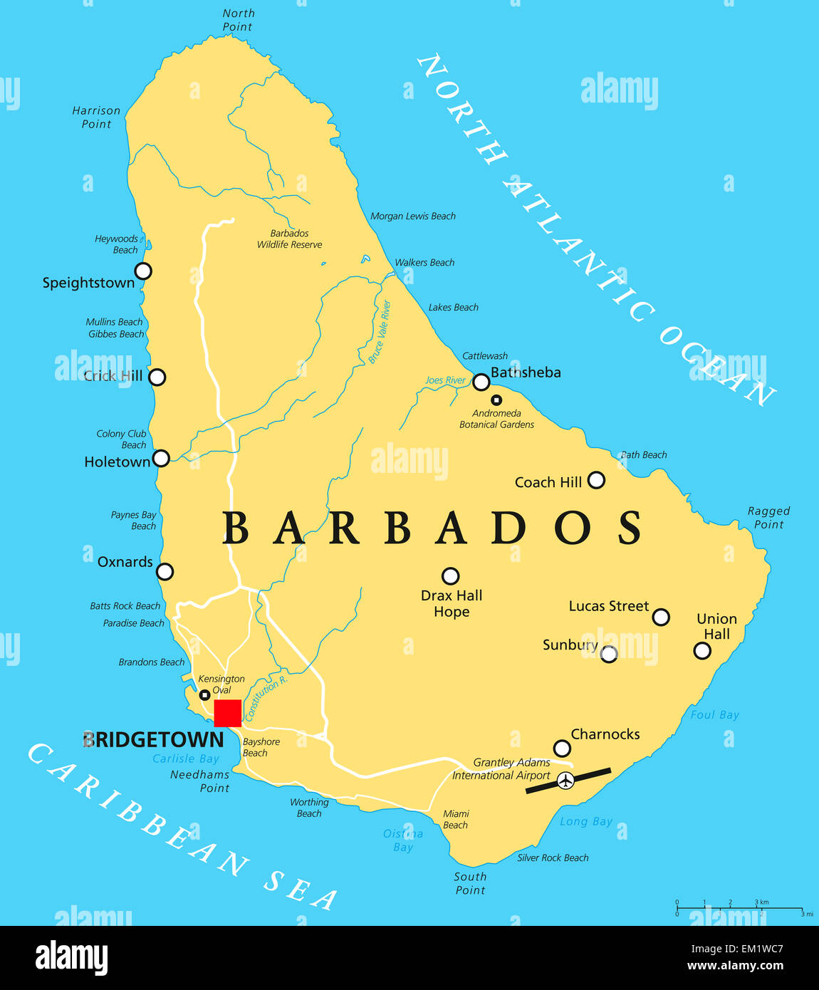 Barbados Political Map with capital Bridgetown with important Stock