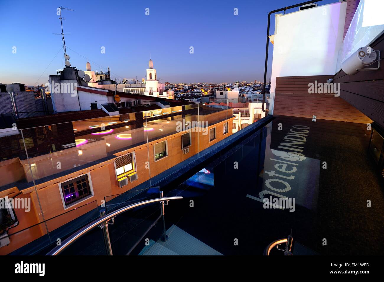Swimming pool on the roof at Hotel Indigo - Stock Image