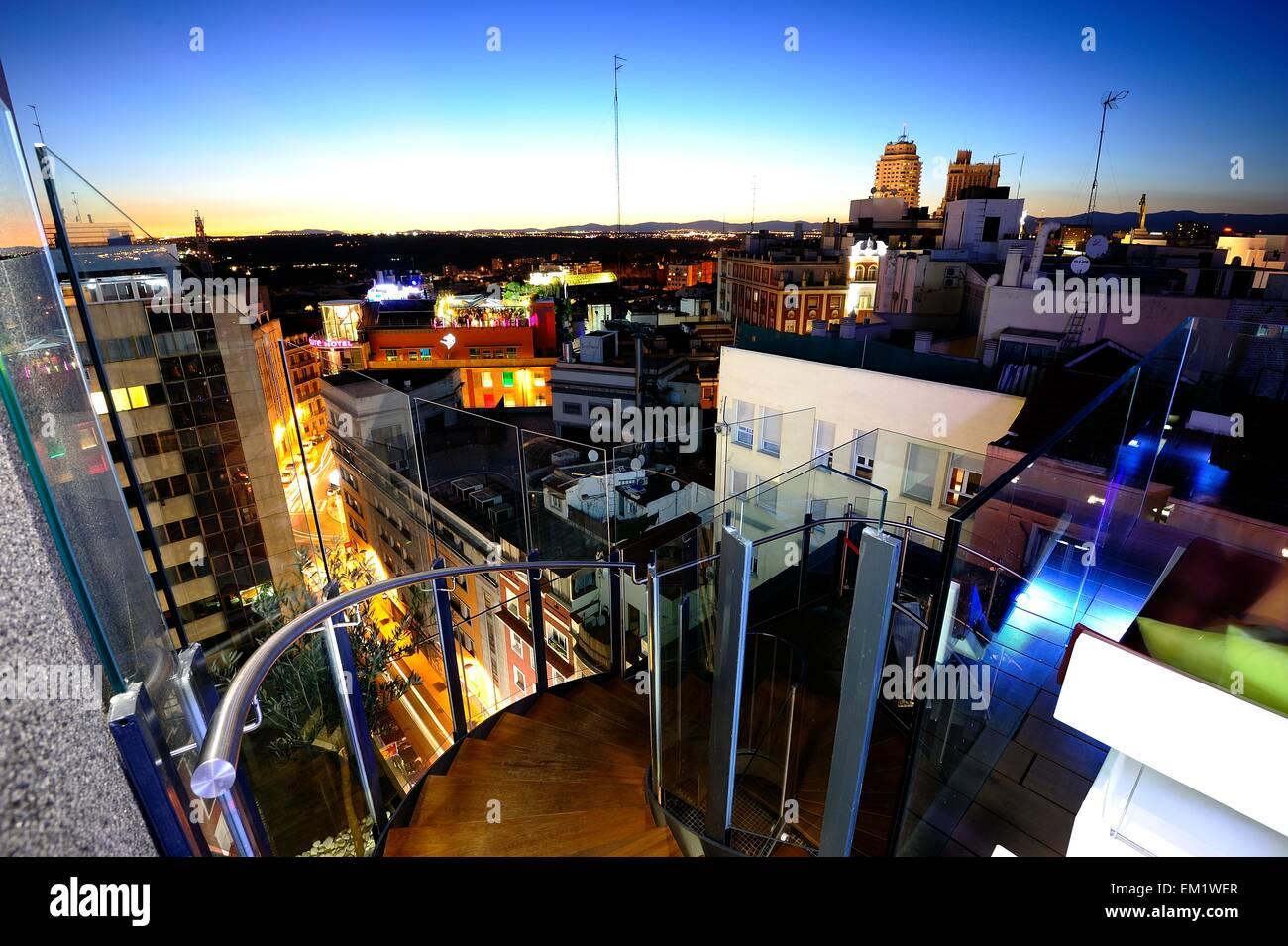 Night time skyline of Madrid - Stock Image