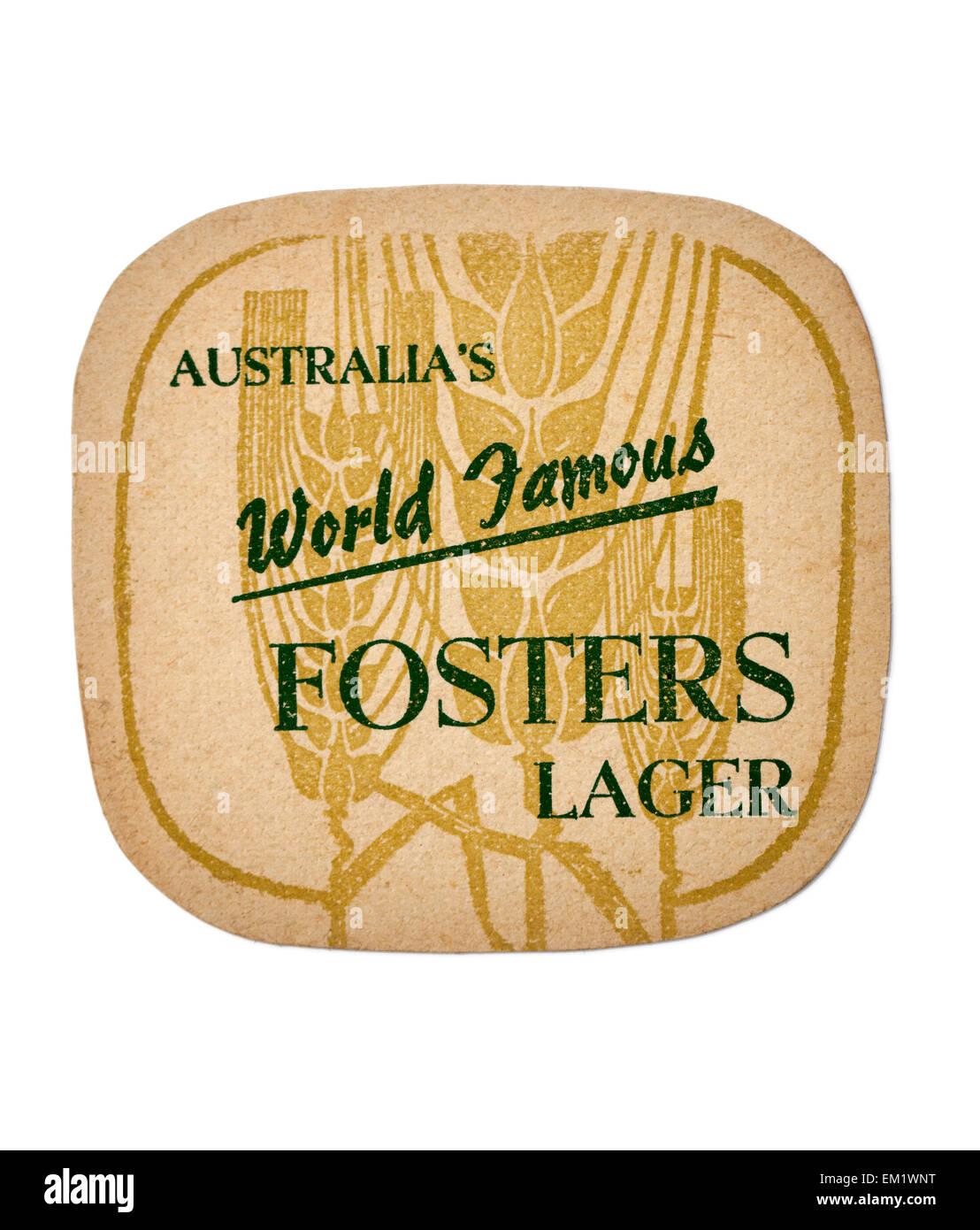Vintage Beermat advertising Australian Fosters Lager Beer - Stock Image