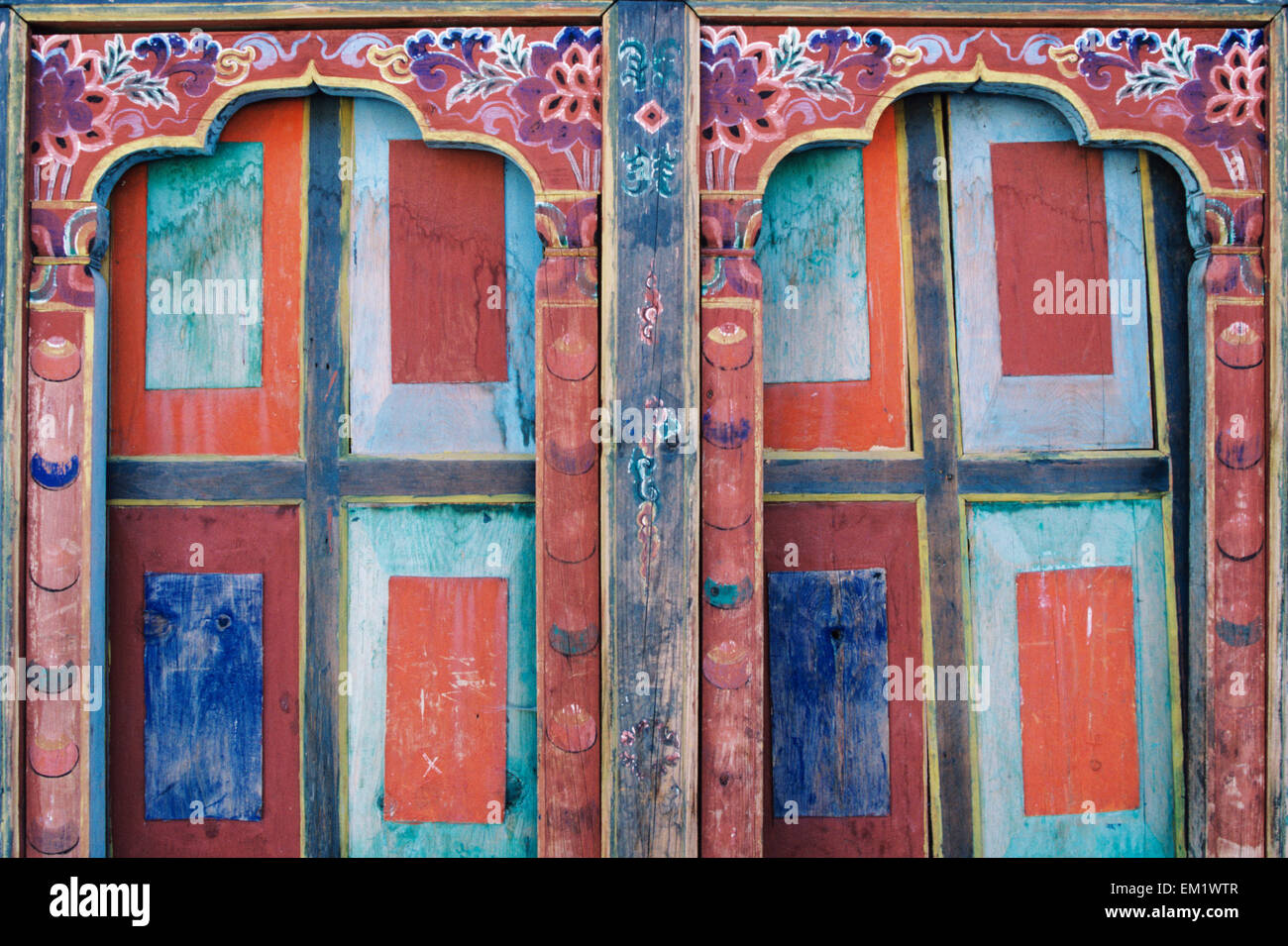 Bhutan, Paro, Detail of wall art and architecture; Ta Dzong Museum - Stock Image