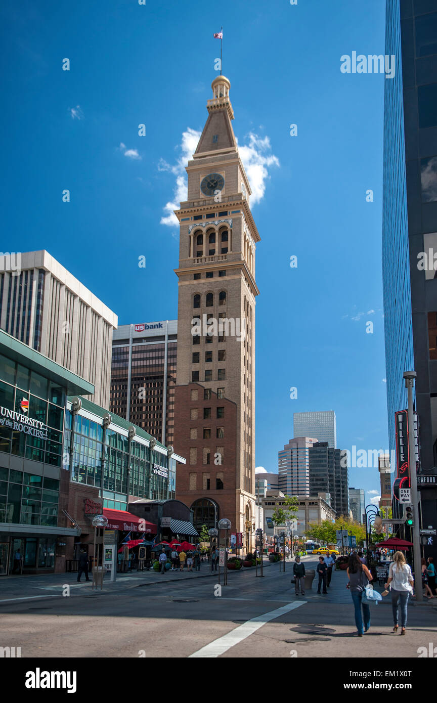16th Street Mall, buildings, Colorado, Daniels and Fisher Tower, Denver, Downtown, historic - Stock Image